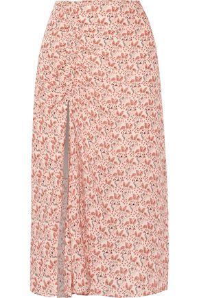 A.L.C . Woman Devon Ruched Printed Silk Crepe De Chine Midi Skirt Blush