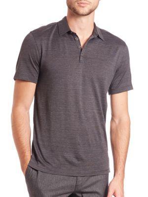John Varvatos Silk & Cotton Polo In Charcoal