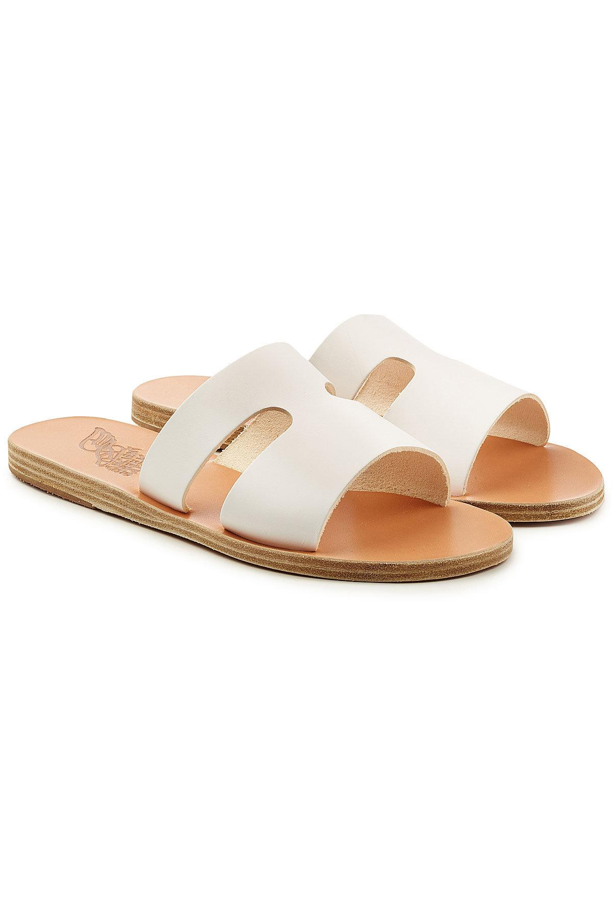 Ancient Greek Sandals Leather Sandals In White Modesens