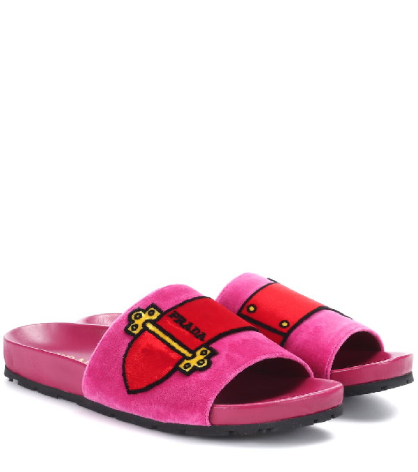5ad4fb21d269 Prada Cartoon Velvet Slides In Pink