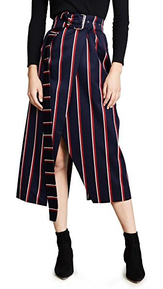 cd219684b662d8 Solace London Apolline Striped Wool And Cotton-Blend Twill Wrap Skirt In  Navy/Red