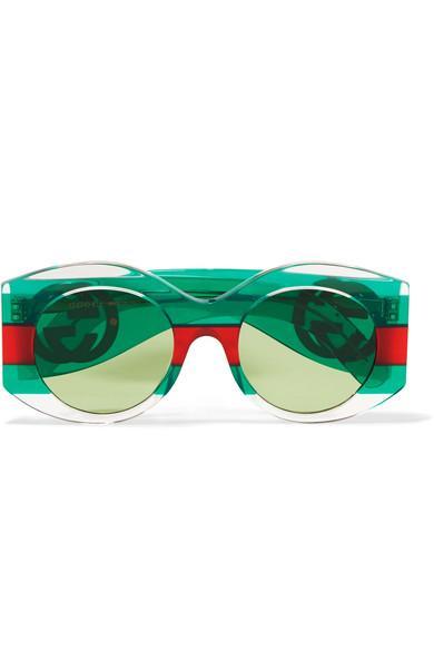 f2a4aa879b Gucci Round-Frame Striped Acetate Sunglasses In Green