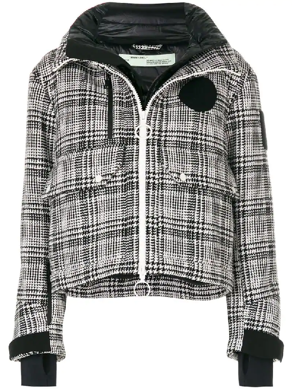 3ca8873611 Off-White Padded Prince Of Wales Checked Tweed Jacket In Black ...