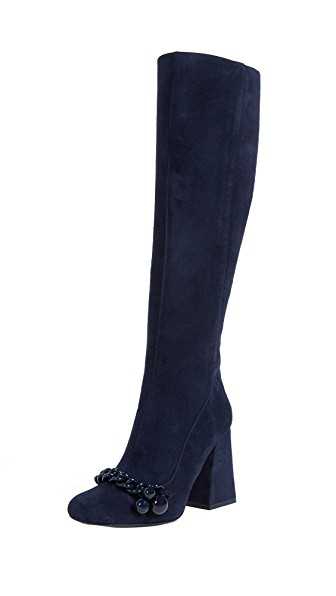 f4a89b2bf Tory Burch Addison Suede Square Toe Knee Boots In Royal Navy