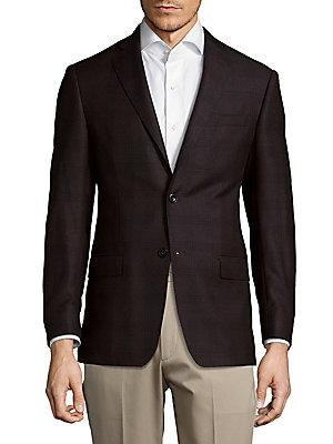 Michael Kors Two-Button Wool Blazer In Dark Brown
