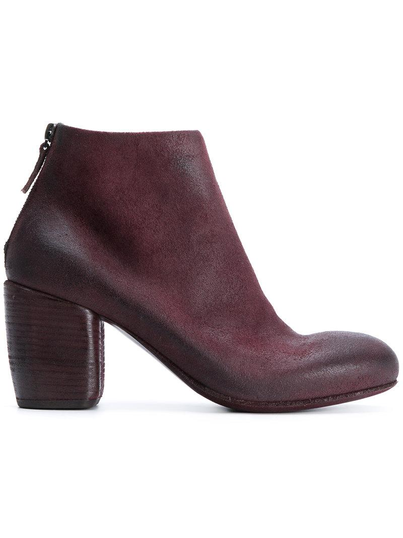 MarsÈLl Block Heel Ankle Boots In Red