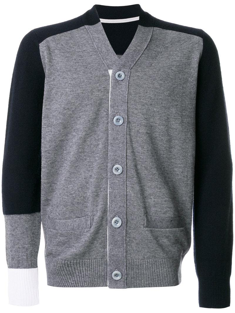 Sacai Colour Block Cardigan - Grey