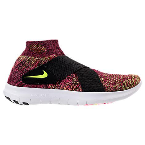 fa9ac8254bf6 Nike Women s Free Run Motion Flyknit 2017 Running Sneakers From Finish Line  In Black Chlorine