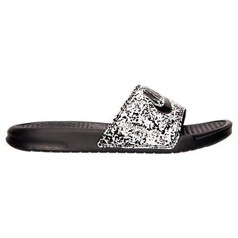 huge selection of bafae 79805 Nike Men s Benassi Jdi Print Slide Sandals, White Black