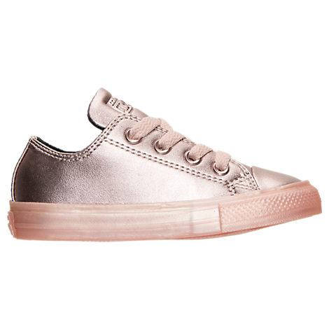 fd6b2d8373b3f3 Converse Girls  Toddler Chuck Taylor All Star Ox Leather Metallic Casual  Shoes