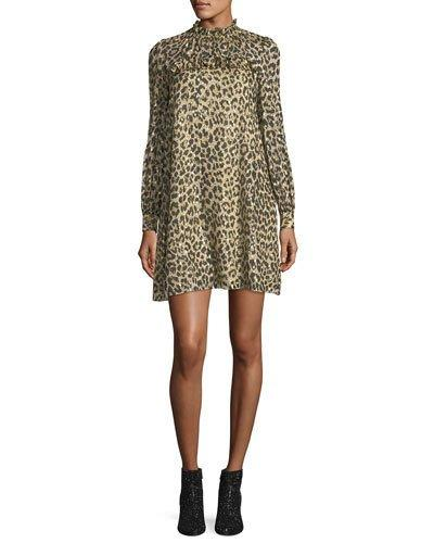 d6ed70adf4c6 Kate Spade Long-Sleeve Leopard-Print Clipped Dot Minidress In Classic Camel