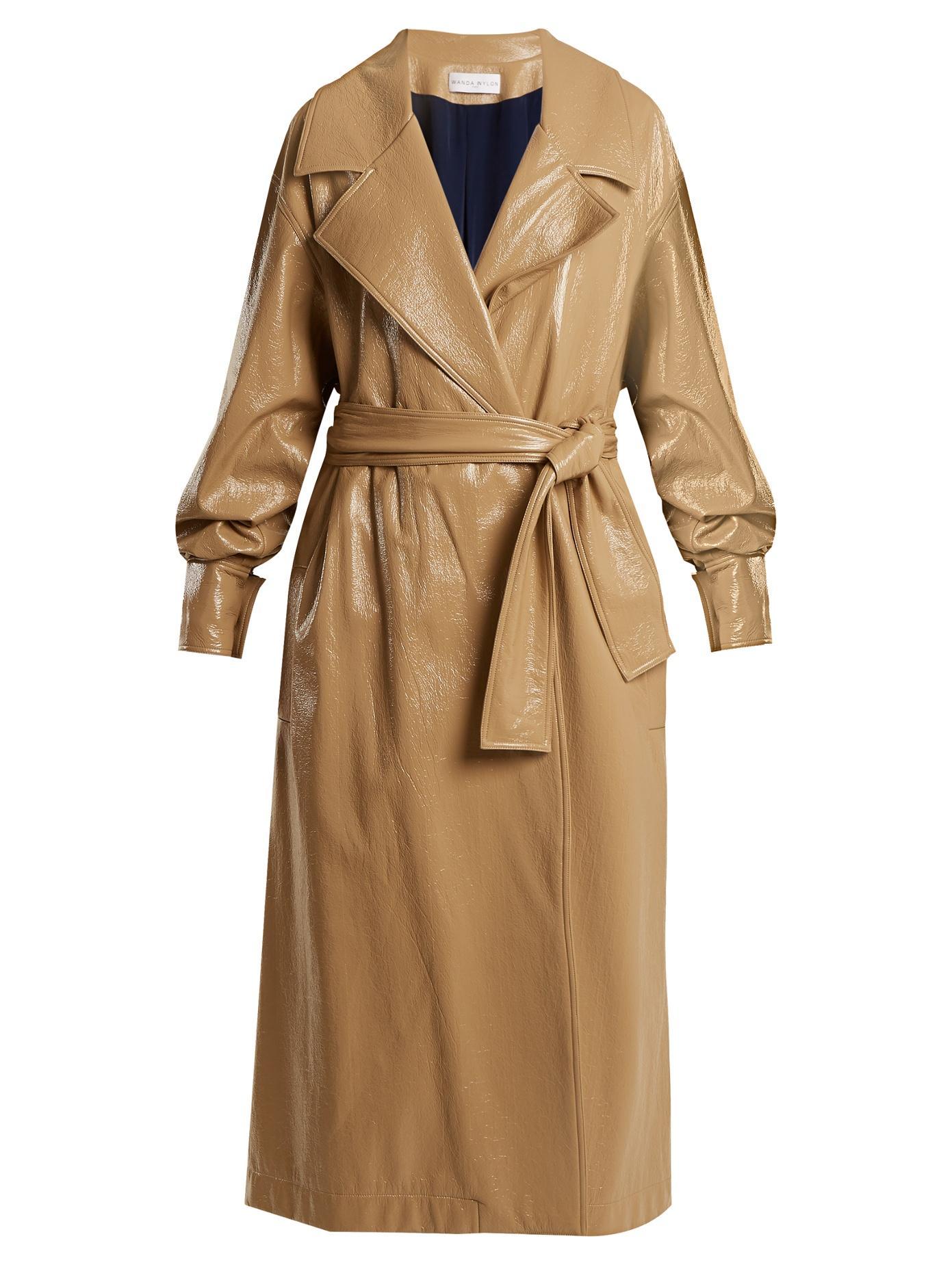 Wanda Nylon Oversized Coated Trench Coat In Caramel-Beige