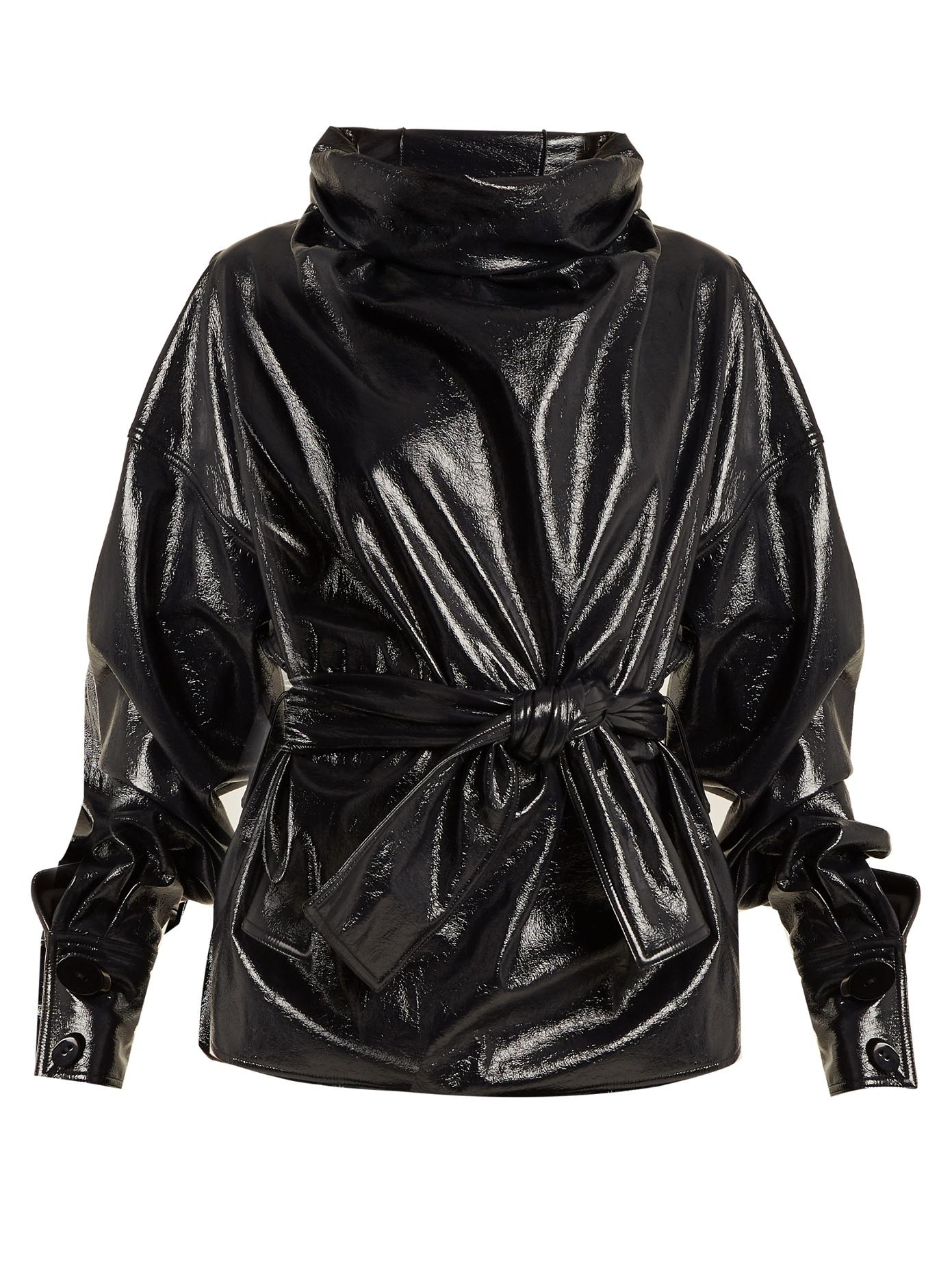 Wanda Nylon Funnel-Neck Tie-Waist Coated Cotton-Blend Top In Dark-Navy