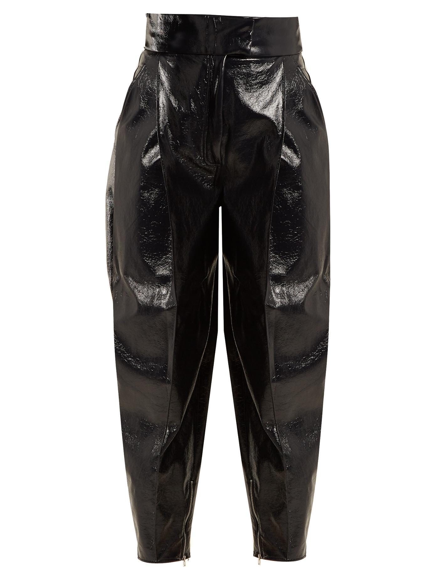 Wanda Nylon High-Rise Tapered-Leg Coated Trousers In Navy