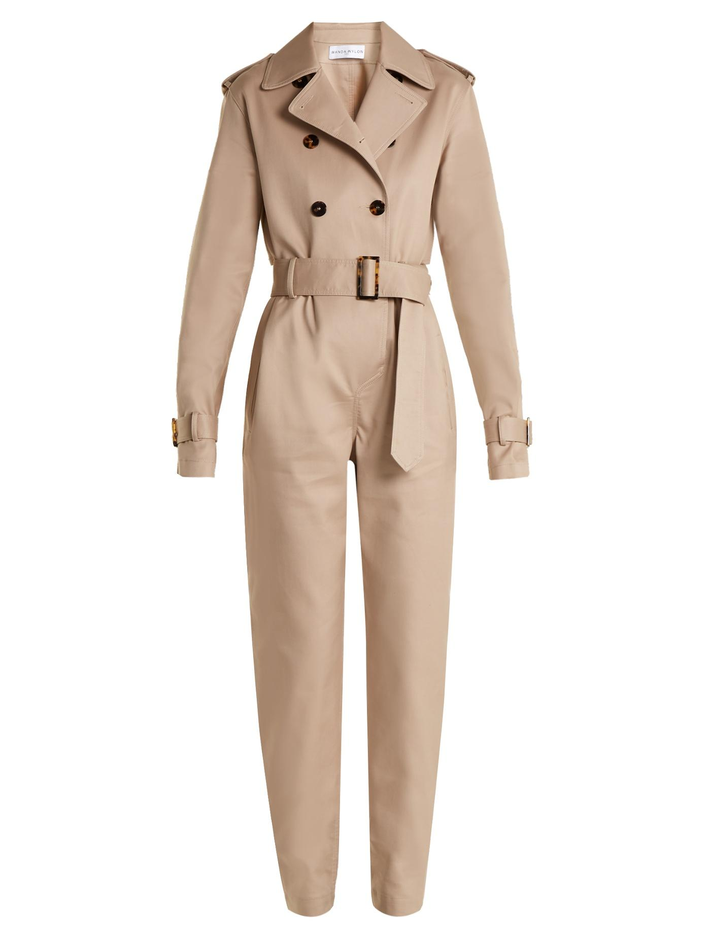 Wanda Nylon Double-Breasted Belted Jumpsuit In Beige