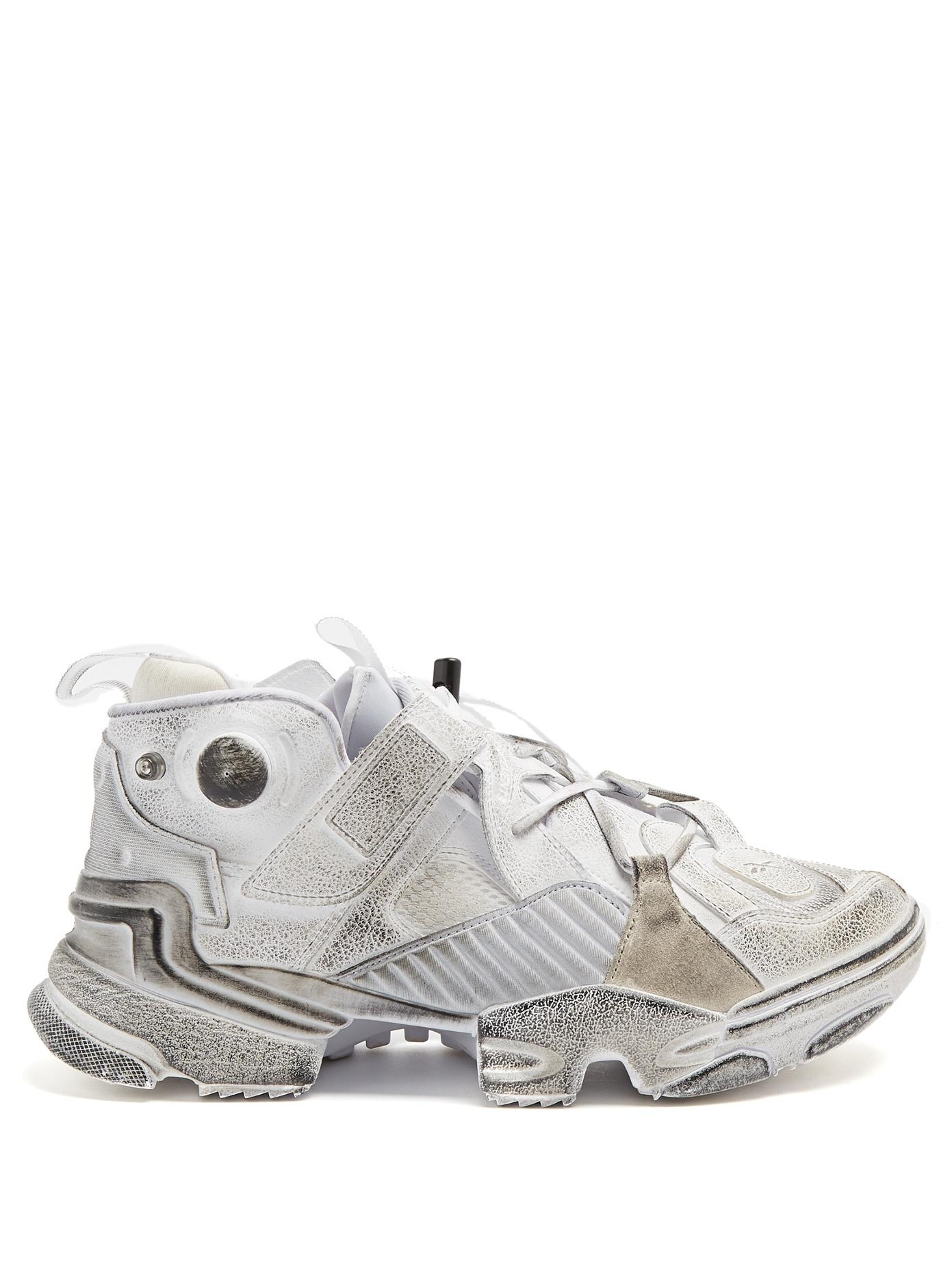 Vetements X Reebok Genetically Modified Leather Trainers In White ... e9ce4be9e