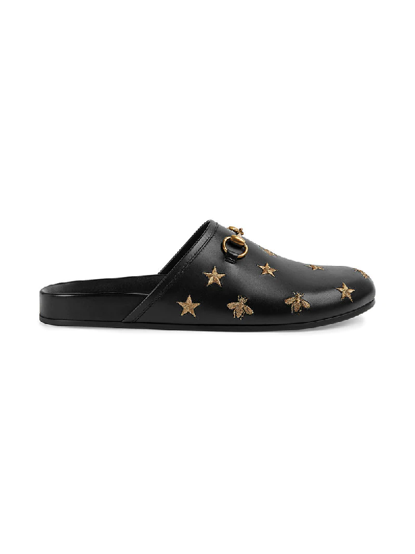 e4938555988 Gucci River Star-   Bee-Embroidered Leather Mules In Black