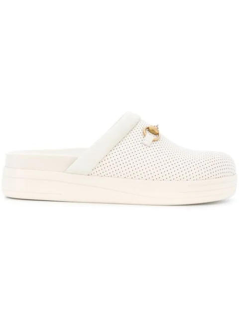 Gucci Horsebit Suede-Trimmed Perforated Leather Sandals In 9076