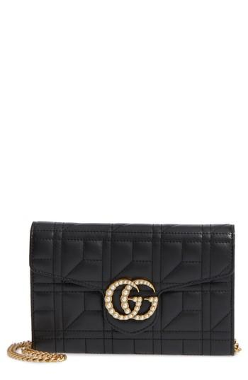 65e6b4a94b424b Gucci Mini Gg Marmont 2.0 Imitation Pearl Matelasse Leather Crossbody Bag -  Black In Nero/