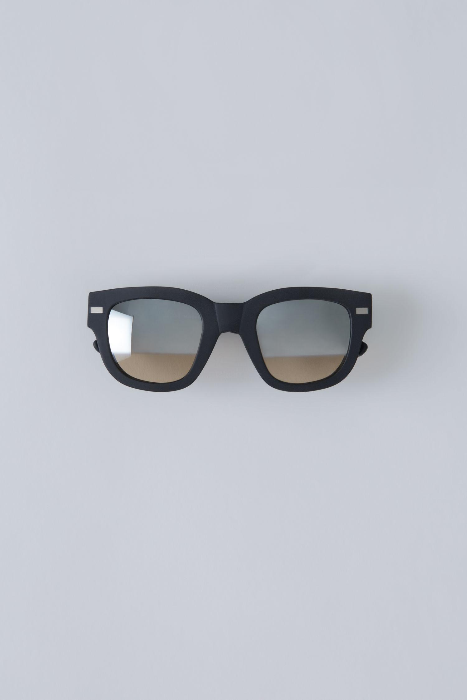Acne Studios Square Frame Eyewear Matt Black/Silver Half Mirror