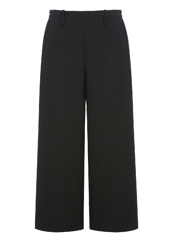 Lemaire Elasticated Wool Cropped Pants In Black