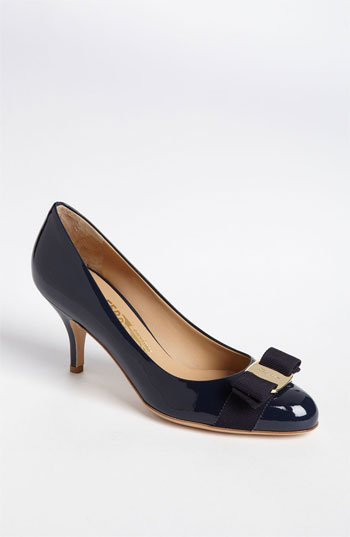 Salvatore Ferragamo Oxford Blue Patent Calfskin Leather 'Carla 70' Bow Detail Pumps
