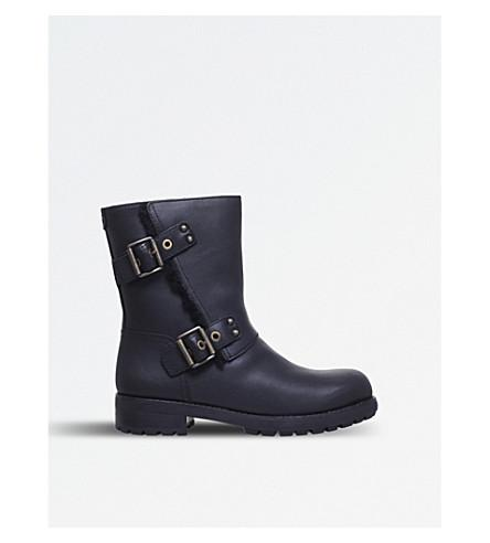 1906f79cb80 Ladies Black Niels Leather Biker Boots