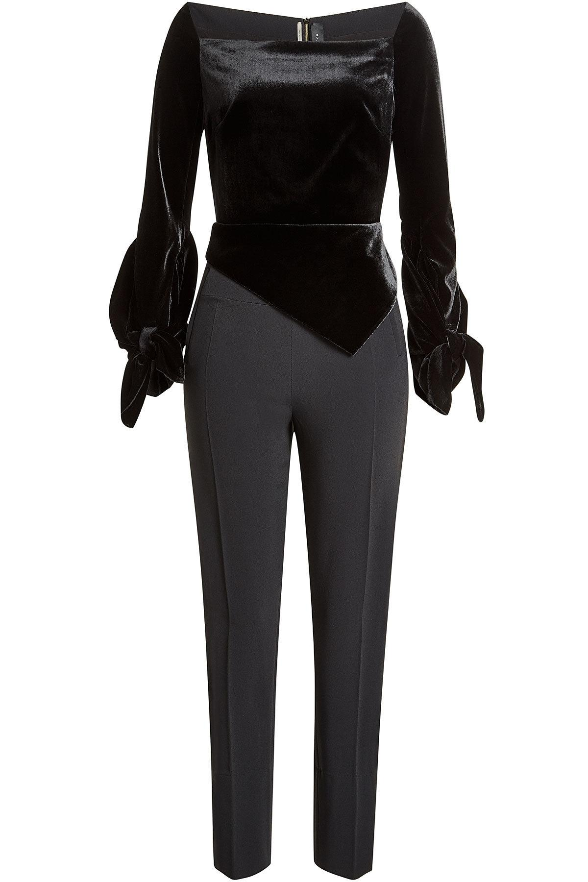 Roland Mouret Jumpsuit With Velvet Top In Black