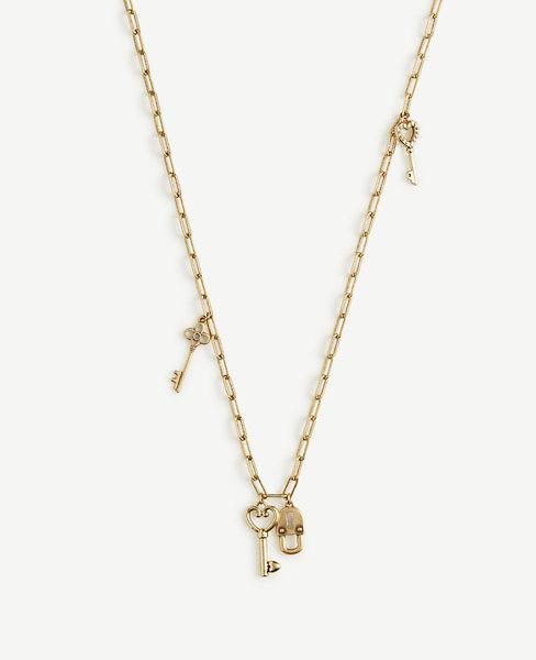 Ann Taylor Lock And Key Layering Necklace In Gold