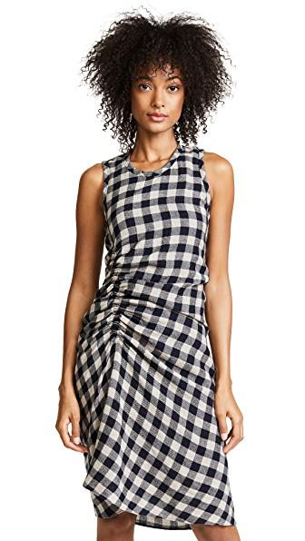 253290ee6724fe James Perse Ruched Checked Wool And Linen-Blend Dress In Sand French Navy