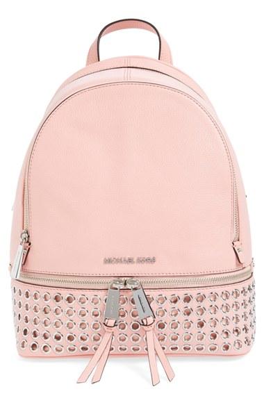 ff1482b04091 Michael Michael Kors 'Rhea - Zip Grommet' Leather Backpack In Pale Pink/  Silver