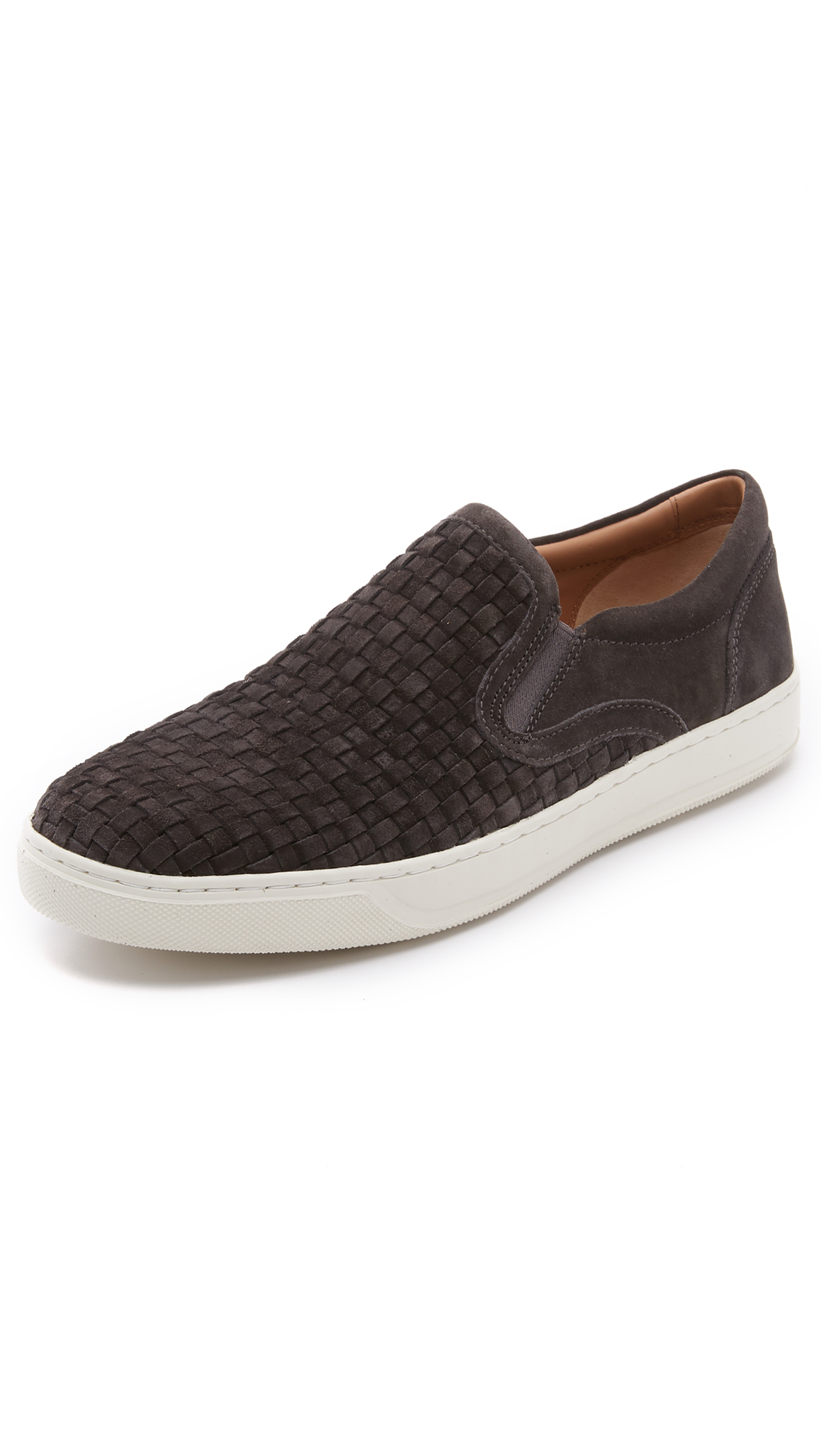 Vince Ace Woven Suede Slip Ons In Graphite/midnight