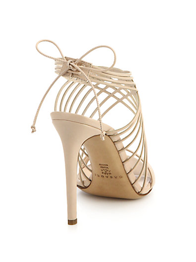 Casadei Criss-Cross Leather Ankle-Tie Sandals In Beige