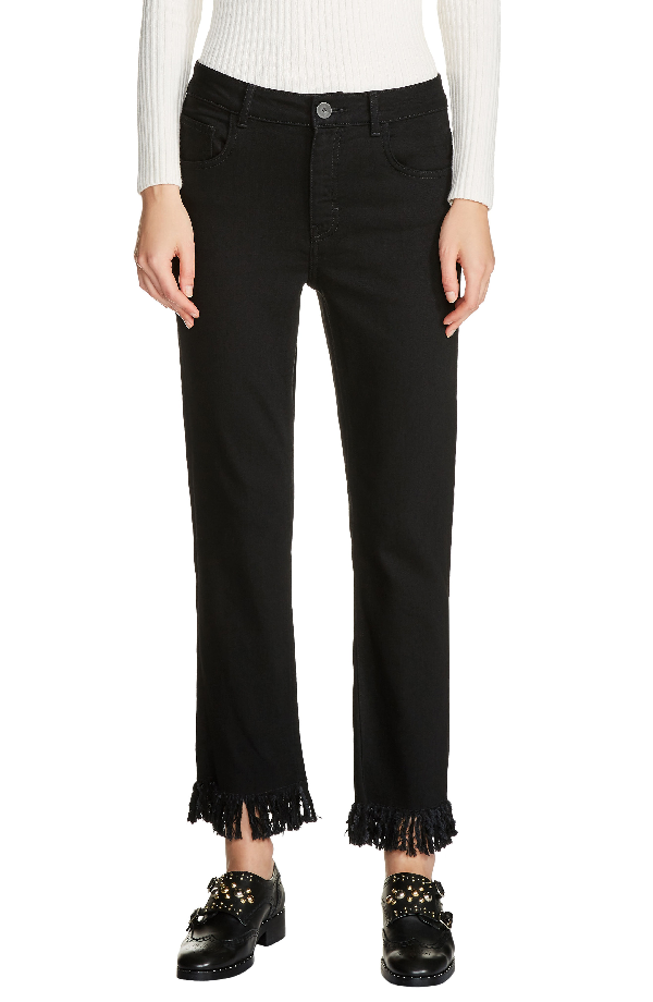 e7cb5481139 Maje Panako Cropped Fringed-Hem Jeans In Black