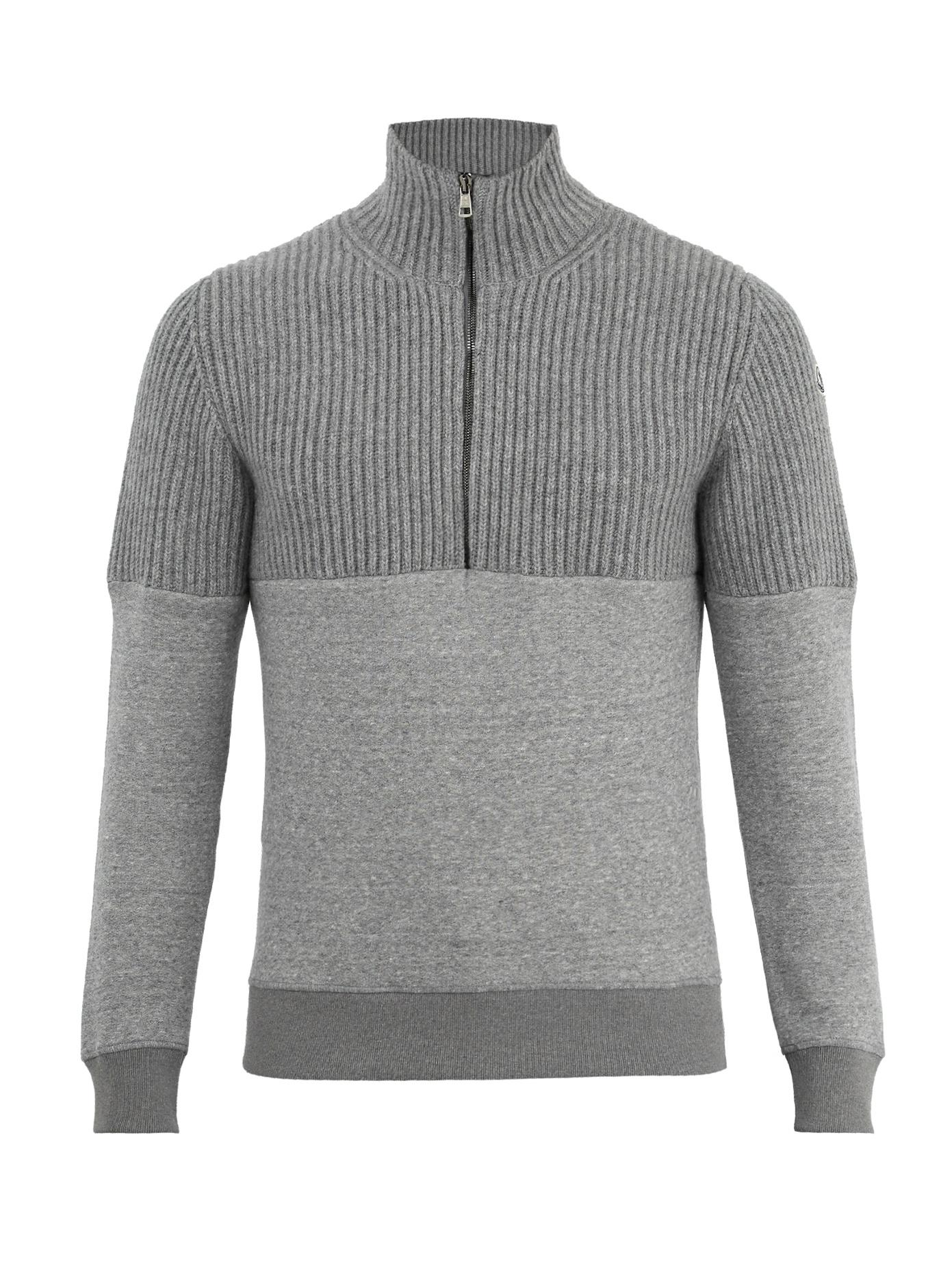 7b411731141a30 Moncler Half-Zip Contrast-Panel Wool And Jersey Sweater In Dark Grey ...