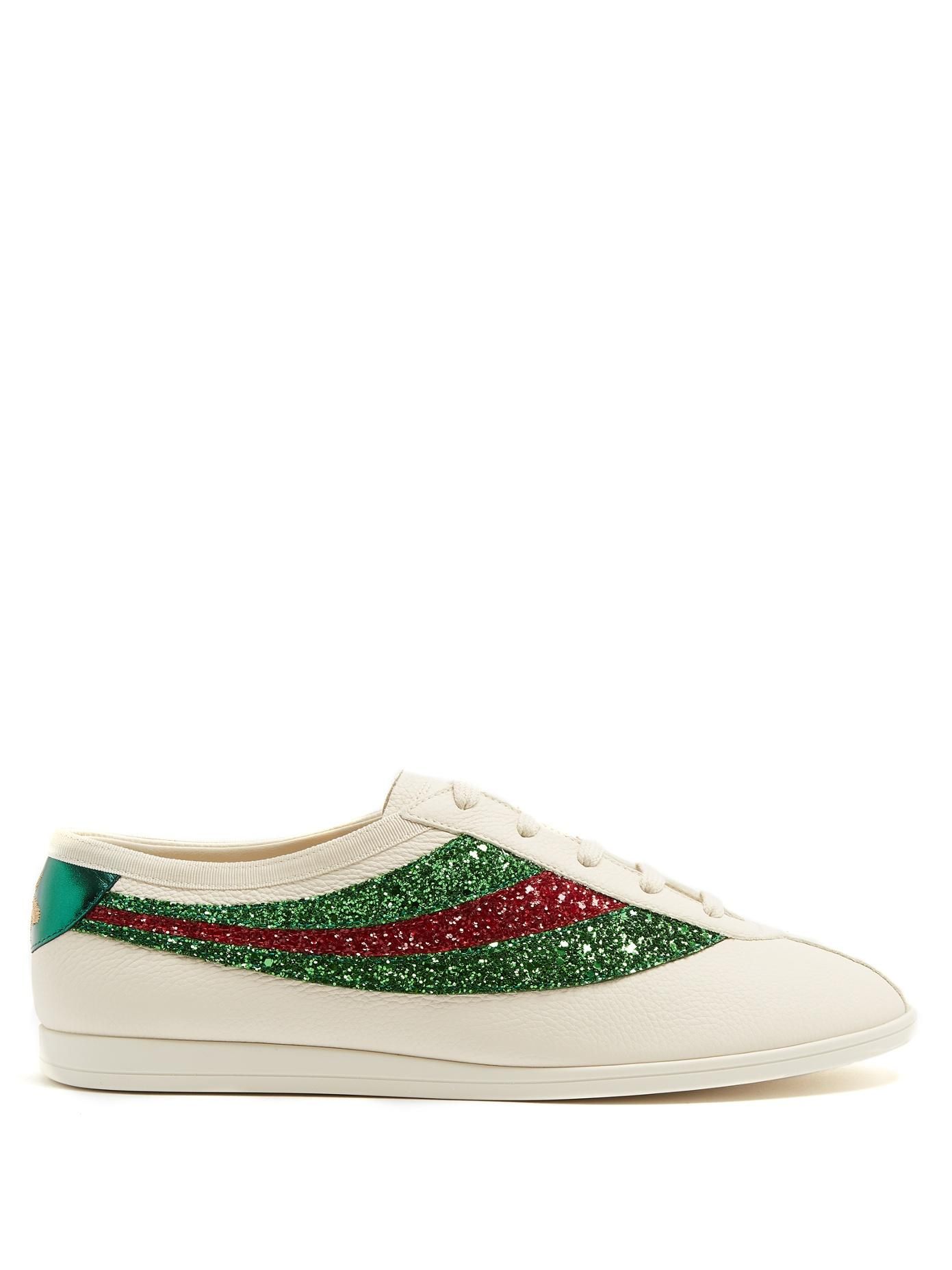 72b078c5d1f Gucci - Falacer Glitter Embellished Leather Trainers - Mens - White Multi