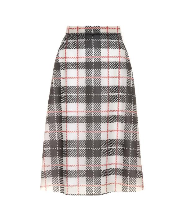 Burberry Silk-lined Tartan Plastic A-line Skirt In Multicoloured