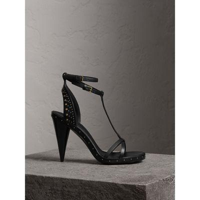 Burberry Riveted Leather High Cone-Heel Sandals In Black