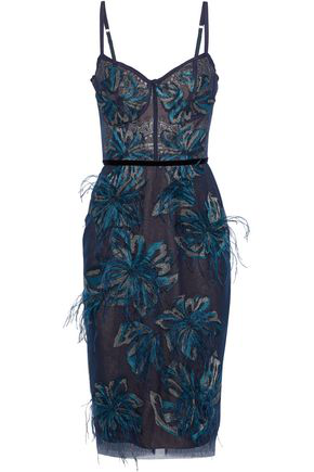 81454dddf62 Marchesa Notte Feather-Embellished Embroidered Metallic Tulle Dress In Teal