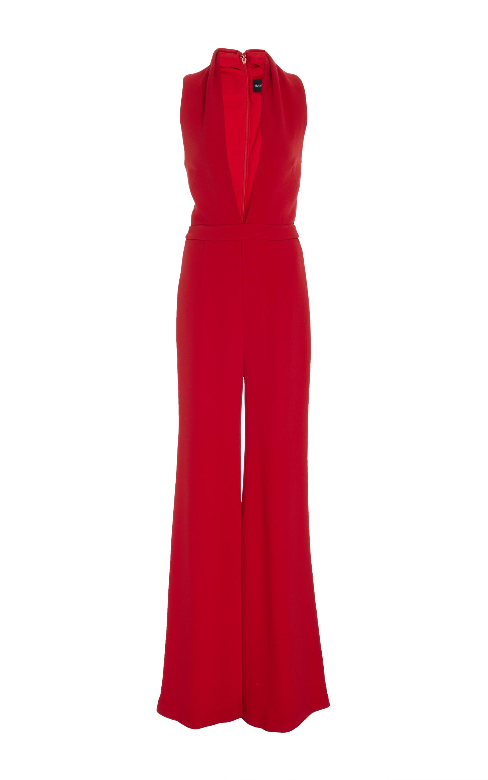 a9107e3a2687 Brandon Maxwell Double-Face Crepe Rolled-Collar Jumpsuit In Crimson ...