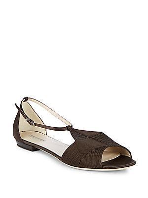 Giorgio Armani Stitched Leather Ankle Strap Flats In Brown