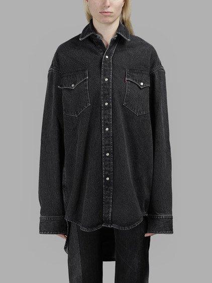 a3693256 Vetements Women's Black Heavy Oversize Denim Shirt | ModeSens