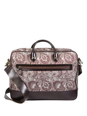 Robert Graham Everett Leather-Trimmed Paisley Fabric Briefcase In Brown