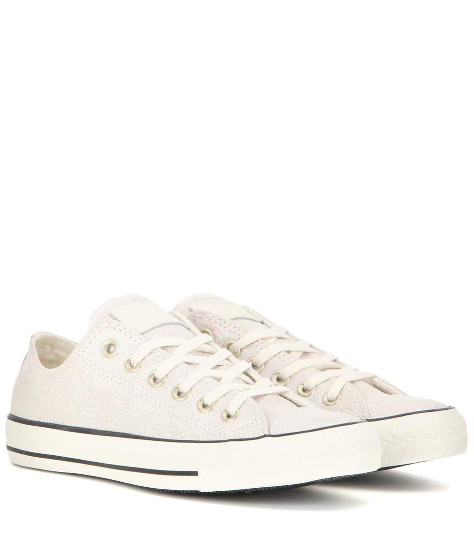 Converse Chuck Taylor All Star Ox Iridescent Suede Sneakers In Off White