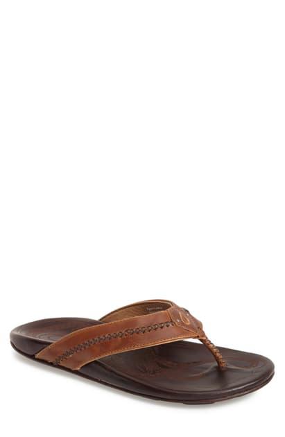 Olukai Po'Okela Leather Thong Sandals In Dark Java/ Dark Java