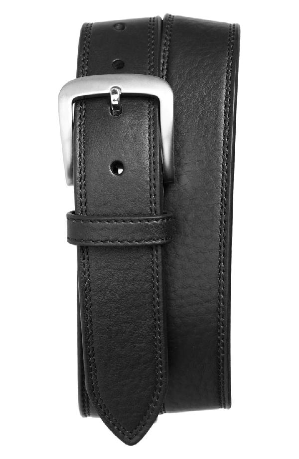 Shinola Men's Essex Double Stitch Leather Belt In Black