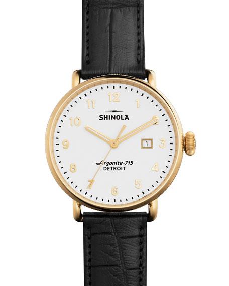 Shinola Men's 43Mm Canfield Alligator Strap Watch, Black