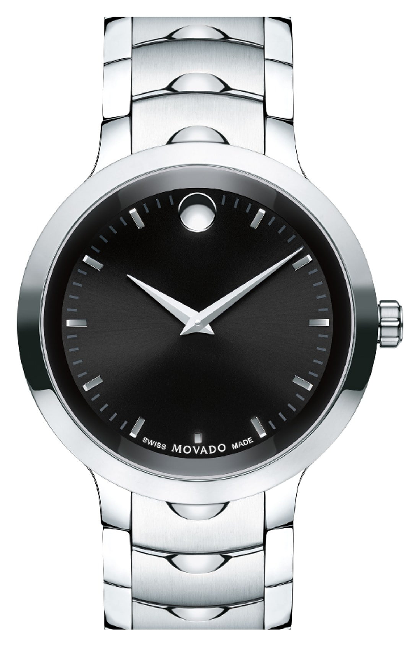 Movado 40Mm Luno Sport Stainless Steel Watch, Black/Silver In Silver/ Black