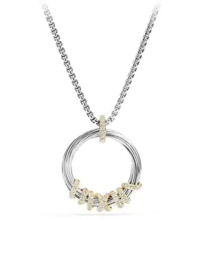 David Yurman Helena Medium Pendant Necklace With Diamonds And 18K Gold In Silver Gold