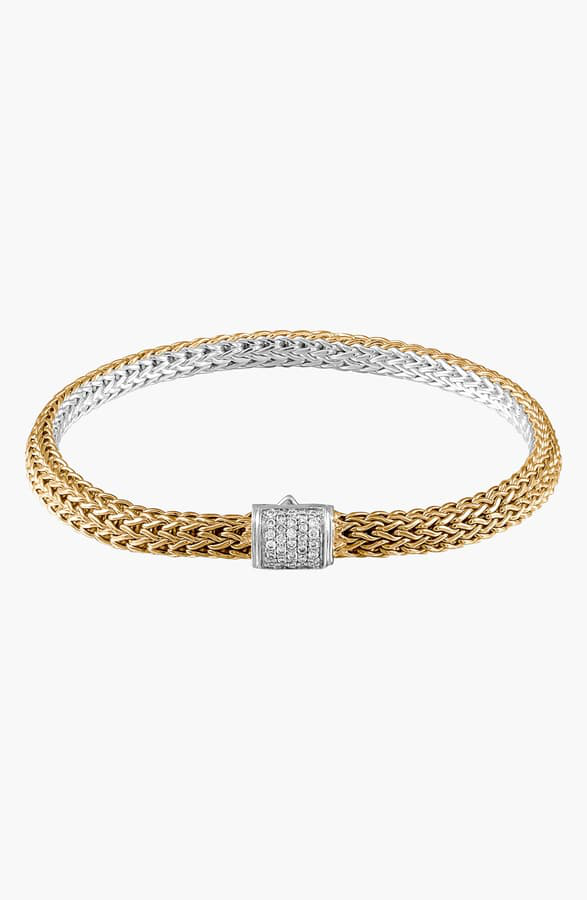 John Hardy Classic Gold & Silver Extra Small Reversible Bracelet In Gold/ Silver/ Diamond